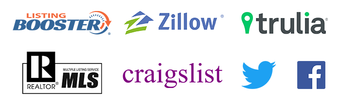 Logo Collage: Listing Booster, Zillow, Trulia, MLS, craigslist, twitter, facebook