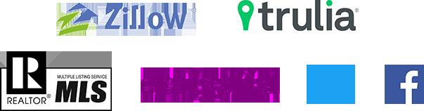 Logo Collage: Zillow, Trulia, MLS, craigslist, twitter, facebook